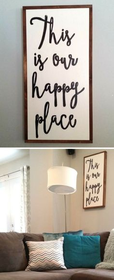 This is our happy place wood sign, living room sign, gallery wall decor, farmhouse sign, farmhouse decor, rustic sign, rustic decor, housewarming gift idea, home decor #ad