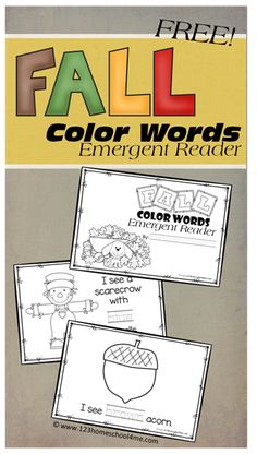 FREE fall Color Word Emergent Readers