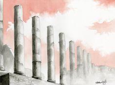 Ruins -- Matthew D. Hughes -- Watercolor #painting #landscape #italy #italia #rome #roma