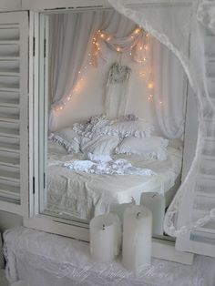 Love this mirror with the shutters  Shabby chic bedroom & fairy lights