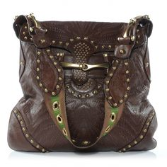 This is an authentic GUCCI Leather Studded and Tooled Pelham in Brown.   This ultra stylish shoulder bag is crafted of lovely soft tooled leather leaving a distinctive mark as well as studs at the base corners around the flap and the shoulder strap.