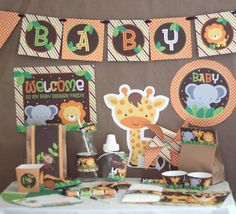 Safari (Jungle) Animals Baby Shower DIY Printable Party Kit - INSTANT DOWNLOAD