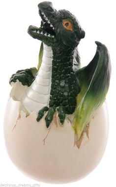 Green Hatchling Dragon Emerging  From Egg With Smoking Nostrils Incense Holder