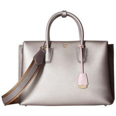 MCM Milla Large Tote (Spike Silver) Tote Handbags ($1,100) ❤ liked on Polyvore featuring bags, handbags, tote bags, shoulder strap purses, white handbags, mcm tote, travel tote bags and handbags totes
