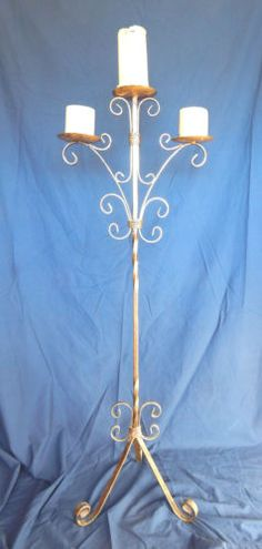 Floor-Candleabra-Wrought-Iron-Gothic-Renaissance-Gold-Candle-Holder-45-inch-tall