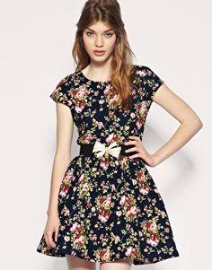 Dahlia Corduroy Floral Belted Dress