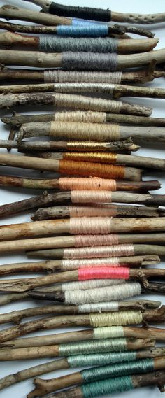 Coloured thread on wood | ©Kirstievn, via flickr