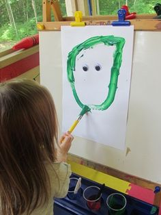 Great Preschool activity -- Googly eye easel starter...glue googly eyes to paper & let kids decide how to paint.