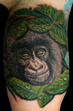 Tattoo Art by Herm: Baby Gorilla, Stunden Arbeit Gorilla Tattoo, Female Gorilla, Tattoo Foto, Baby Gorillas, Disney Winnie The Pooh, Cool Tattoos, Amazing Tattoos, Cute Babies, Tatting
