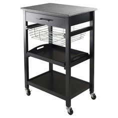 Castered kitchen cart with a granite top and pull-out metal basket.  Product: Kitchen cartConstruction Material: