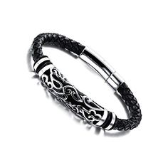 61e67aaab92 MOWOM Silver Tone Black Stainless Steel Genuine Leather Bracelet Bangle Cuff  – Jewelry & Gifts