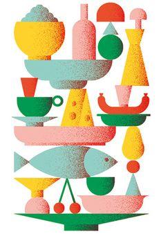 Need to decide if we like the shape of the composition Giacomo Bagnara Illustration Design Graphique, Art Et Illustration, Food Illustrations, Web Design, Design Art, Plakat Design, Collage, You Draw, Grafik Design