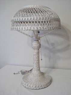 "Authentic Heywood Wakefield Wicker Table Lamp 22"" Works Arts & Crafts Era"
