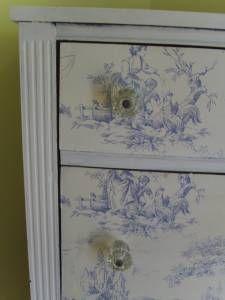 toile wallpaper on dresser - shabby chic idea