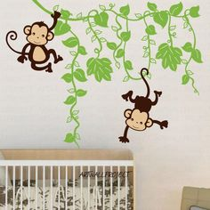 I love this!!! Removable Vinyl Wall Decal - Monkey in Jungle A type with Two monkeys - Monkey wall decal for nursery - Monkey Vines baby Room decal