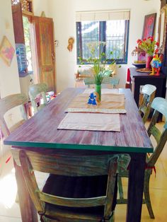 Multicolor Washed dining table