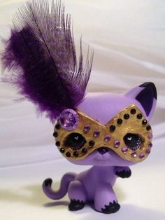 Littlest pet shop * Purple Masquerade Kitty * Custom Hand Painted LPS Cat OOAK #Hasbro