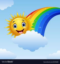 Smiling sun character near the rainbow and clouds Vector Image Art Drawings For Kids, Drawing For Kids, Art For Kids, Crafts For Kids, Sun Painting, Rainbow Painting, Fabric Painting, Cartoon Sun, Cartoon Pics