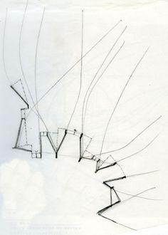 Enric Miralles plan drawing . Palafolls public Library Catalonia   Europe