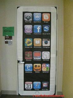 Puerta de salón decorada como IPhone