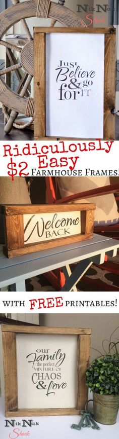 DIY Home Decor - Easy DIY Farmhouse Frames! With Free Printables! - Nik Nak Shack