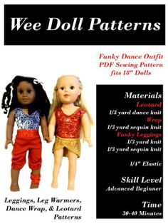 Funky Dance Outfit American Girl Doll clothes pdf sewing pattern - on craftsy $5.99