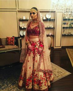 Security Check Required : Disha Batla aces her desi style by adorning a beautiful floral lehenga choli with elegant jewelry. Indian Bridal Outfits, Indian Bridal Lehenga, Indian Bridal Wear, Indian Ethnic Wear, Indian Dresses, Indian Clothes, Indian Wedding Clothes, Lehenga Wedding, Asian Bridal