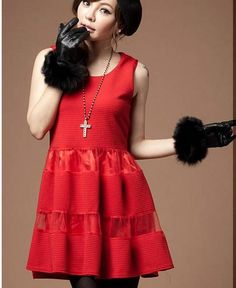 Red Cute Girly Sleeveless Korean Trendy Knit Dress 1