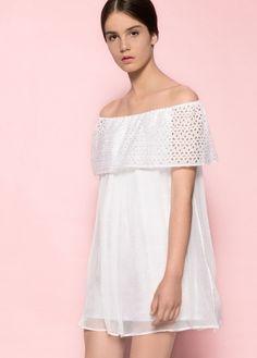MROVCA off-the-shoulders mini white silk and ribbon summer dress 2016