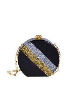 Edie Parker Oscar Diagonal Striped Circle Clutch Bag Fall 2015