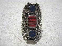 Tibetan/Nepali Ring Longish Metal Body Having Carving Work & Studded Lapis,Coral,Turquoise. Antique Tribal Vintage Ring.21.75Grams US Size 9