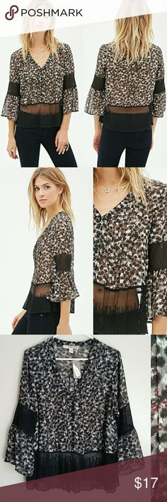 Black Floral Top Brand new with tags, size L. Black, burgundy, white floral print. Thick mesh dotted print material in sleeves and mid stomach. Has bell sleeves. Very cute top! Forever 21 Tops