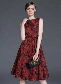 Poliester Kwiatowy Bez rękawów Do Połowy Łydki Vintage Suknia