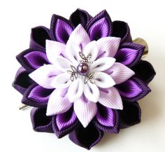 Kanzashi fabric flower hair clip Plum purple orchid and by JuLVa
