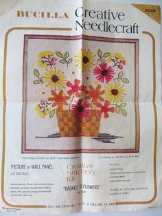Crewel Embroidery Kit, Stitchery Kit, Bucilla 8528, Basket O Flowers, 70s Retro Embroidery Kit, 19 inch, Embroidery Project, Mod Pop Art by CatBazaar on Etsy