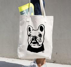 French Bulldog Tote Bag, Frenchie Canvas Tote, Personalised French Bulldog Owner Gifts, Aunt Gift, Dog Walker Gift, Custom Dog Groomer Gift by MONOFACESoADULT on Etsy