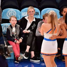 Cate Blanchett and Sons at Knicks Game November 2016