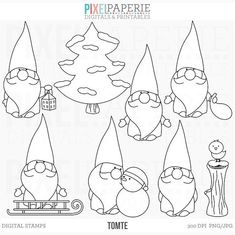 OFF SALE tomte nisse tomtenisse santa gnome by PaperiePixel Woodland Christmas, Christmas Gnome, Christmas Art, Christmas Stickers, Christmas Clipart, Christmas Printables, Etsy Christmas, Digital Stamps Christmas, Ornament Template