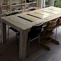 Eettafel steigerhout en sloophout