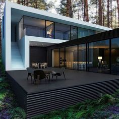 Container House - Very nice setup with a minimalistic house and Danish design furniture from Carl Hansen Son - Who Else Wants Simple Step-By-Step Plans To Design And Build A Container Home From Scratch? House Architecture, Residential Architecture, Amazing Architecture, Contemporary Architecture, Contemporary Houses, Modern Contemporary House, Black Architecture, Container Architecture, Architecture Portfolio