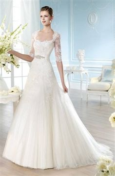 Fit And Flare Sheer Top Cutout Back Applique Tulle Wedding Gown 288.05