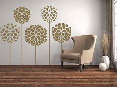 Chrysanthemums Decorative Flowers Floral Wall Decals Graphic Vinyl Sticker Bedroom Living Room Wall Home Decor Monogram Wall Decals, Custom Wall Decals, Flower Wall Decals, Floral Wall, Nursery Themes, Bedroom Wall, Flower Decorations, Wall Murals, Church Nursery