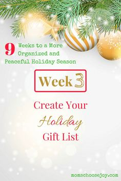 Does Christmas planning have you down? Check out this 9-week series to help you get organized for the holidays with a Christmas Planner and so much more. This holiday blog series covers EVERYTHING you need for a peaceful holiday season. Week 2 shows you: Create Your Holiday Gift List (Plus a Printable List and Gift Ideas!).