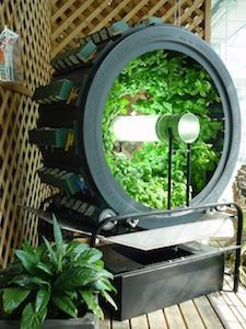 The Volksgarden® is a rotary hydroponics system in which plants are installed in a circular unit, growing toward a light source at the center. It has approximately 20 square feet of growing area, and holds up to 80 plants. Its most successful crops include a variety of herbs, leafy lettuces, chards, peppers, strawberries, eggplants, tomatoes, cucumbers and some flower varieties.