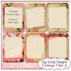 Cottage Chic 2 Pocket Journal Cards Vintage by DigiScrapDelights