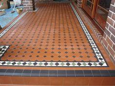 Edwardian Tiles - Octagon Verandah with Norwood Border Outdoor Tiles, Outdoor Flooring, Victorian Front Garden, Mexican Patio, Hall Tiles, Porch Tile, Exterior Tiles, Indian Home Design, Front Hallway