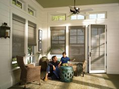 Light filtering natural textures are the perfect touch for your indoor/outdoor spaces––Alustra® Woven Textures® ♦ Hunter Douglas window treatments Hunter Douglas, Woven Wood Shades, Fabric Shades, Living Room Windows, Living Spaces, Living Rooms, Window Coverings, Window Treatments, Honeycomb Shades