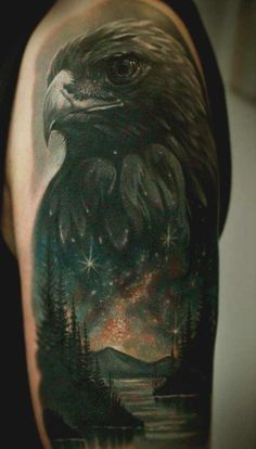 Check out our gallery of eagle tattoo designs for men and women. We delve into the meaning of eagle tattoos as well as their history. We also have a lot of photos of eagle tattoos for the arms, chest, sleeves, back and other body parts. Tattoos 3d, Irezumi Tattoos, Wolf Tattoos, Head Tattoos, Animal Tattoos, Trendy Tattoos, Black Tattoos, Body Art Tattoos, Tattoos For Guys
