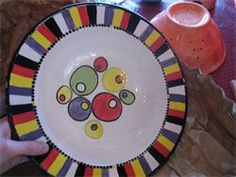 Striped edge...olive/candy plate. How fun and funky!