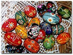 """""""Pisanki"""" has become a generic Polish terms for eggs decorated by any means.  These pisanki are wooden eggs which have been painted."""